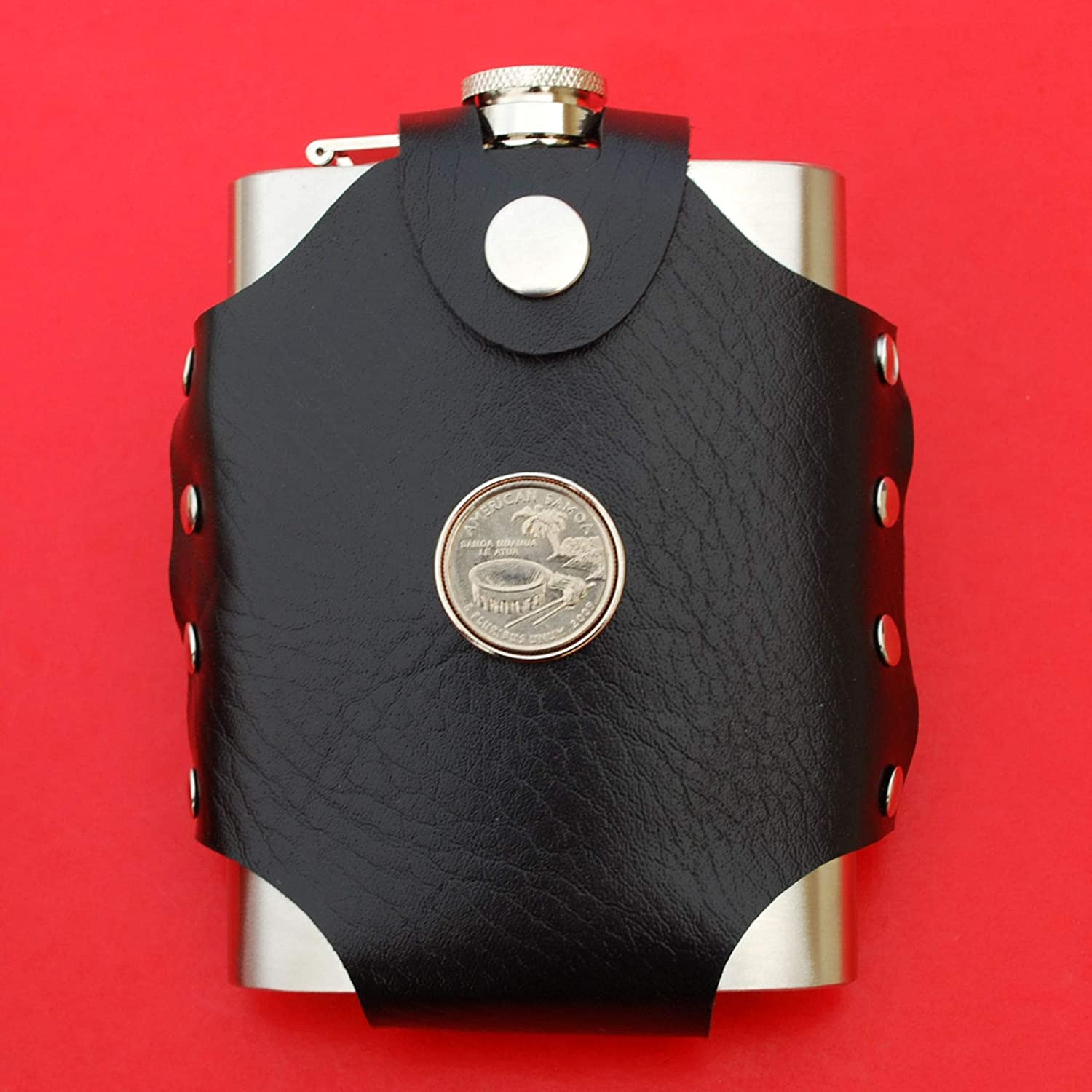 DC /& Territories US 2009 American Samoa Quarter BU Uncirculated Coin Leak Proof Black PU Leather Wrapped Stainless Steel 8 Oz Hip Flask