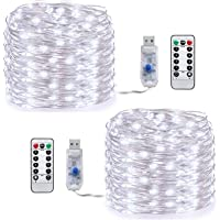 LED Fairy String Lights, [2 Pack] Led String Lights/33ft 100 LED USB Powered Waterproof 8 Modes Remote Timer Copper String Lights for Christmas Halloween Holiday Wedding Party (Cool white-10m)