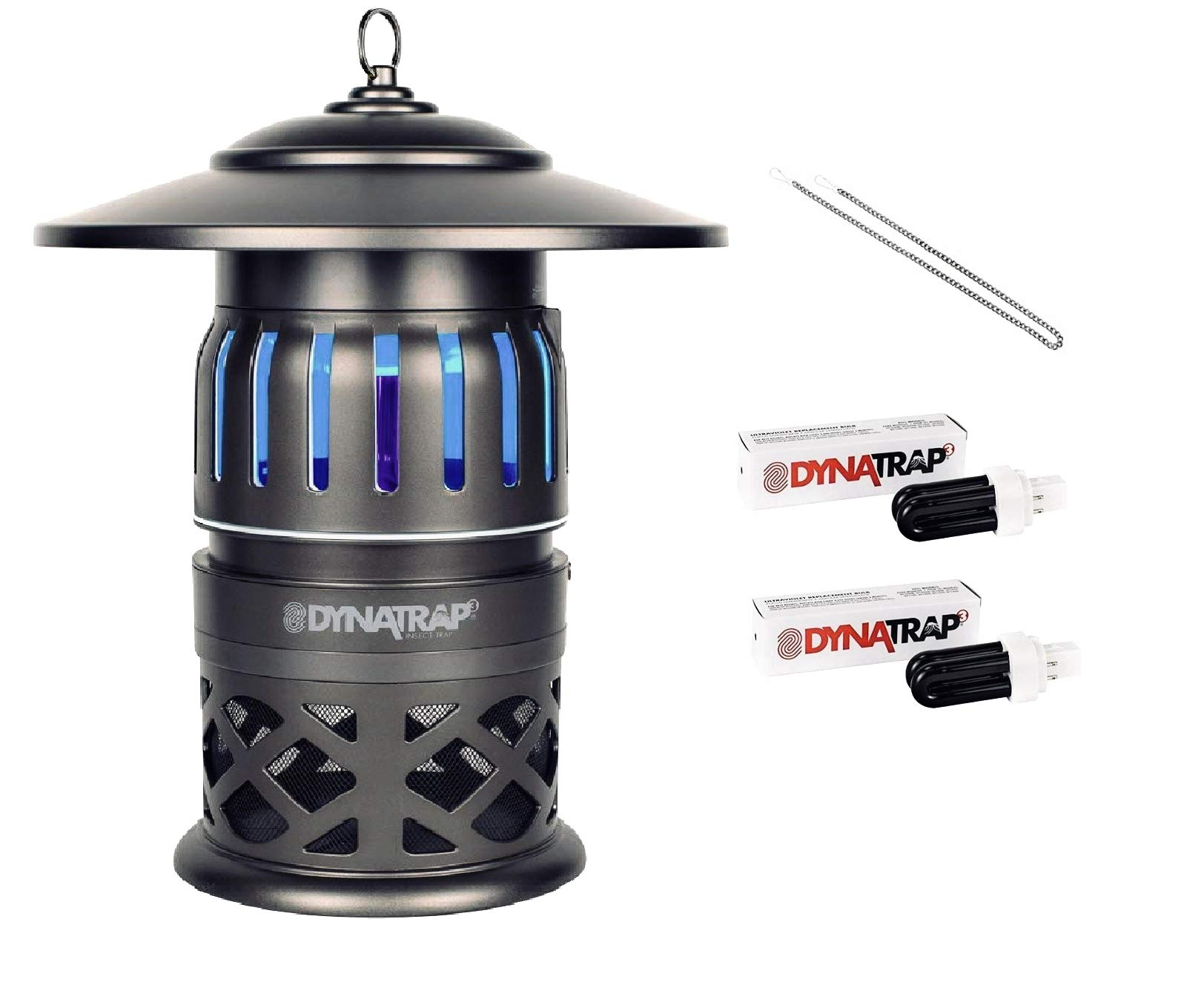 DynaTrap 1/2 Acre Insect and Mosquito Trap - Includes Two Bonus UV Bulbs and Hanging Chain (1/2 Acre w/Bonus Replacement UV Bulbs) by DynaTrap