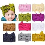 Xinshi Baby Girls Elastic Soft Hair Band Infant Bow Headbands Turban (XS-V2(PCS))