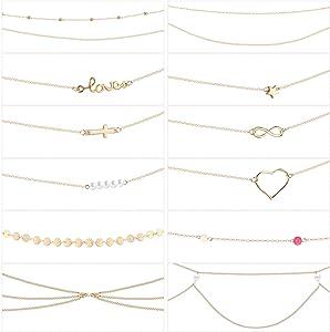12 Pieces Belly Waist Chain Waist Bead Bikini Body Waist Chain Summer Beach Jewelry Set for Women Girls Gold Tone