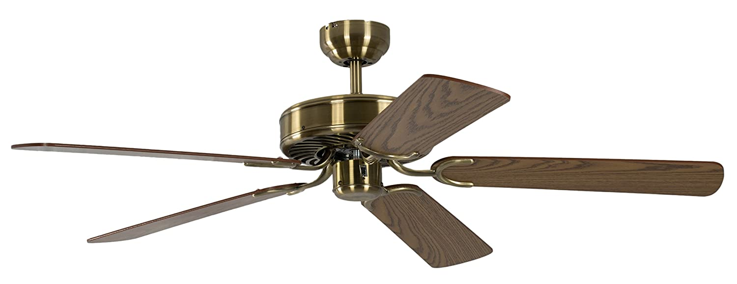 Potkuri 52 inch / 132 cm Ceiling Fan without Lights in Antique Brass with Pull Cord and Blades Oak Pepeo 1334201232