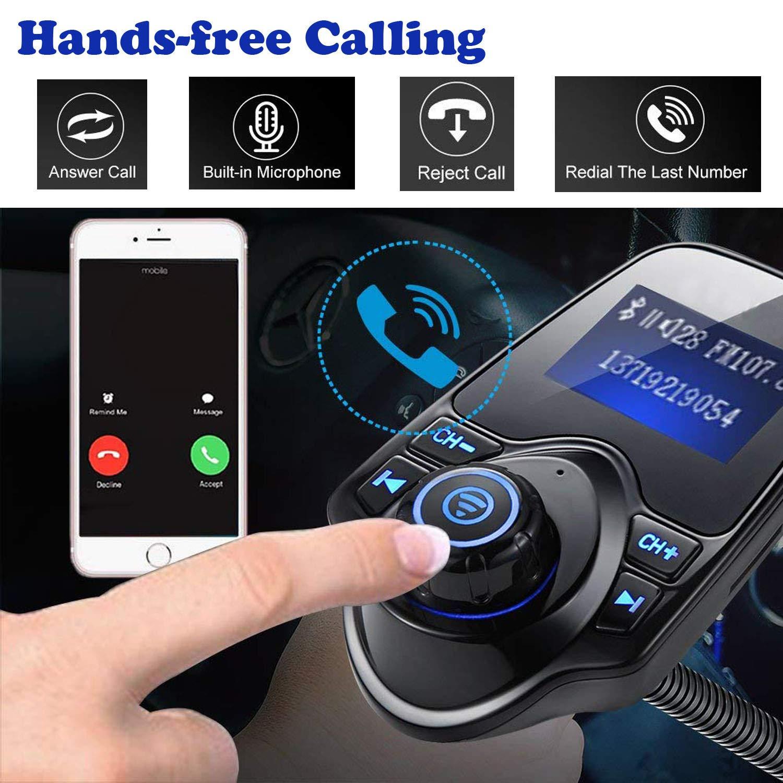 Transmetteur FM Bluetooth Kit de Voiture sans Fil Mains-Libres Adaptateur Radio Lecteur mp3 de Voiture avec Lecteur de Musique Soutient Cl/é USB Entr/ée AUX,Affichage LCD Carte SD