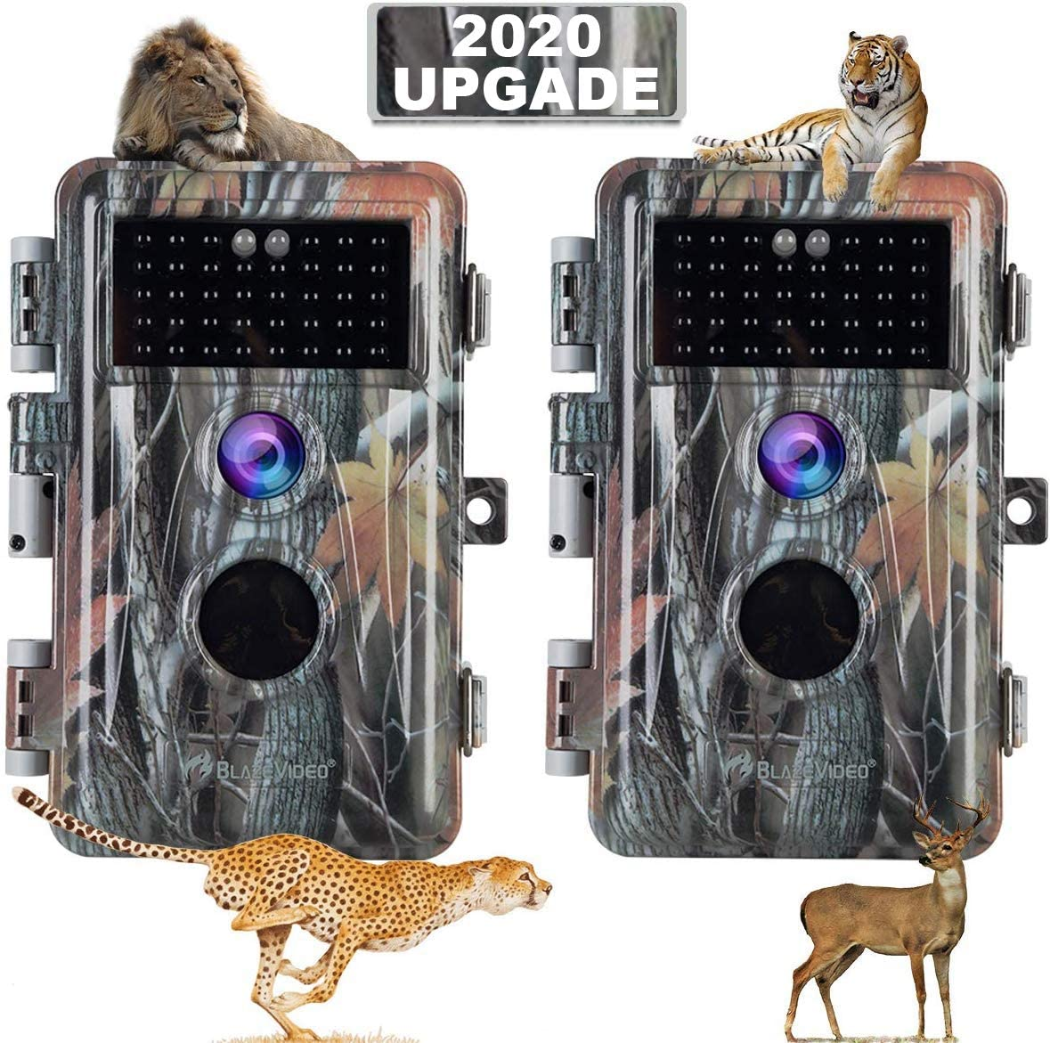 2020 Upgrade 2-Pack Night Vision Game Trail Cameras 16MP 1080P No Glow Hunters Deer Hunting Cams IP66 Waterproof Password Protected Motion Activated Photo Video Model, Time Stamp Time Lapse