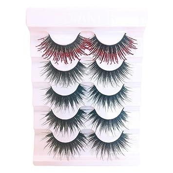 60f00d061f0 Amazon.com : False eyelashes, Yezijin 5 Pair Luxury 3D False Lashes Fluffy  Strip Eyelashes Long Natural Party (D) : Beauty