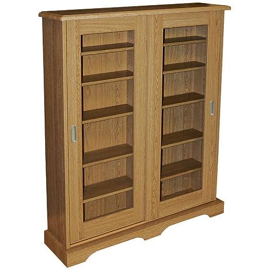 Hampstead - 432 Cd Or 216 Dvd Blu-ray Media Storage Cabinet - Oak ...