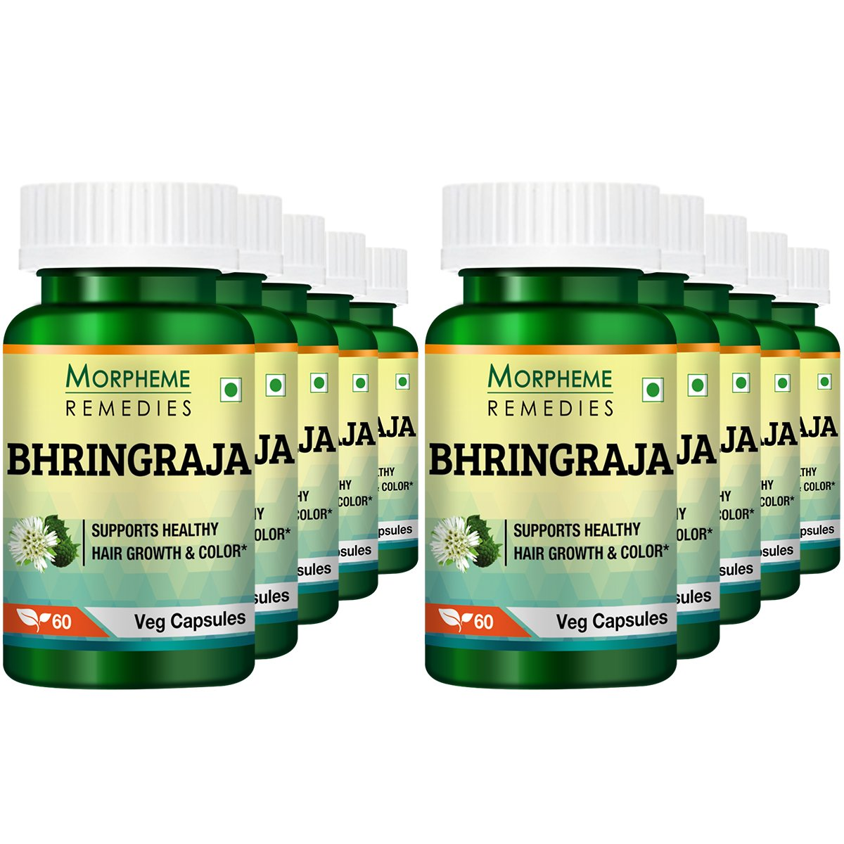 Morpheme Remedies Bhringraja Eclipta Alba 500mg Extract 60 Veg Caps Pack of 10