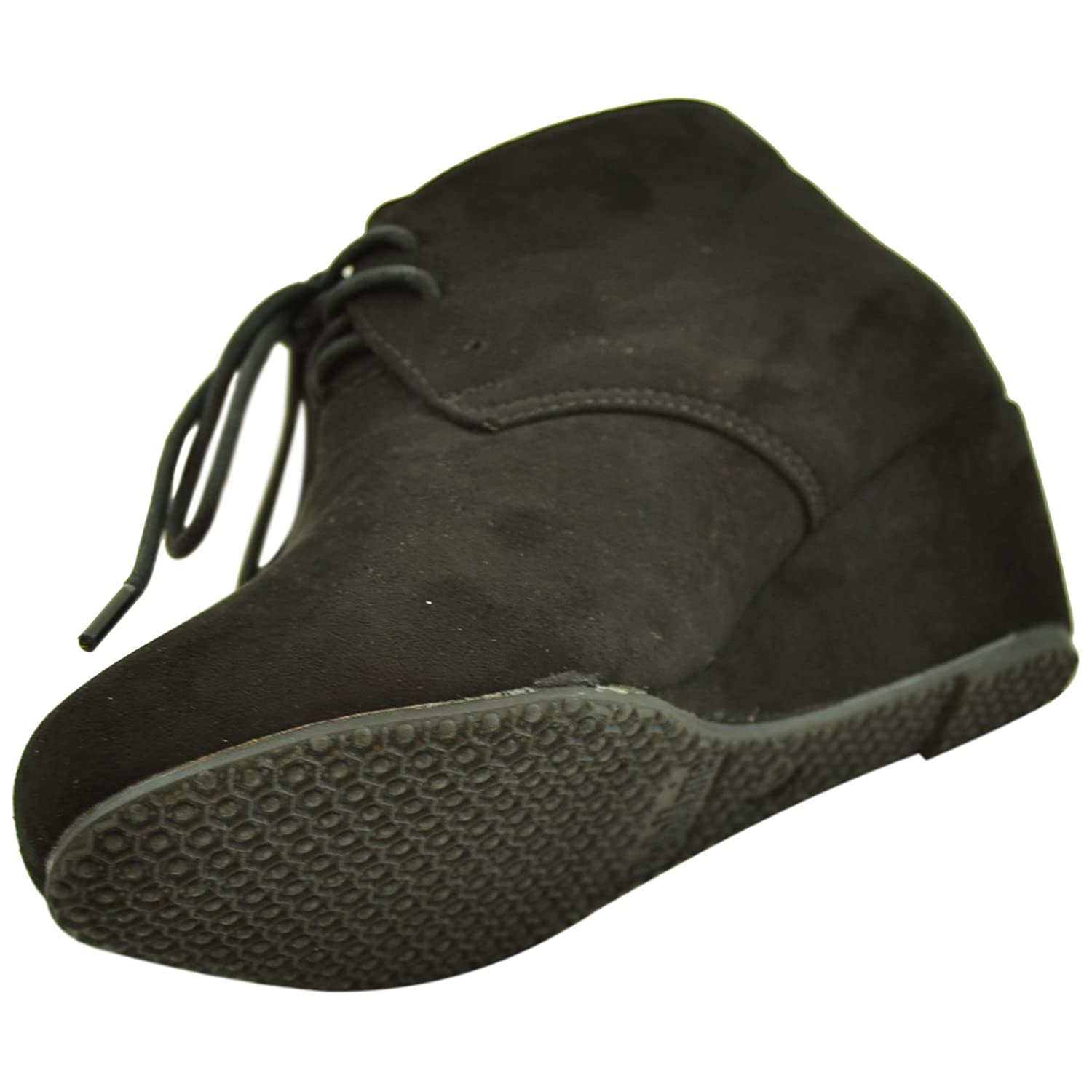 Kids Ankle Boots Faux Suede Low Heel Casual Wedges black AS-SALLY-5K-BLACK