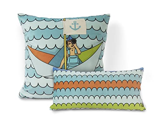 Nursery Decoration, Sail away with me, Soft Pillow, Gender Netural Nursery, Colorful Throw Pillow Cover, hand drawn, one of a kind