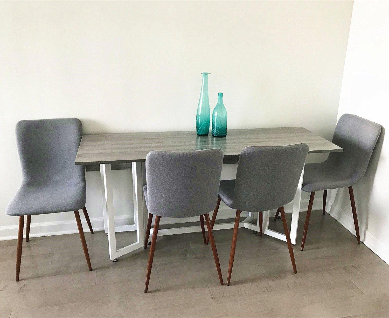 Amazon.de: coavas Dining Chairs Set aus 4 Stoff Küchenstühlen mit ...