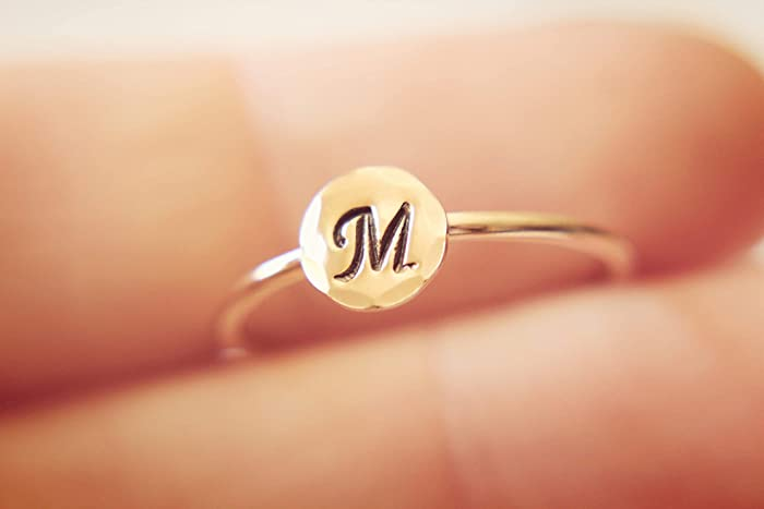 16f19a58db2ac Rose Gold Initial Ring, Letter Ring, Alphabet Ring, Initial Stacking Ring,  Number Ring, Personalized Ring, Pick Your Initial, Gift, Stacker