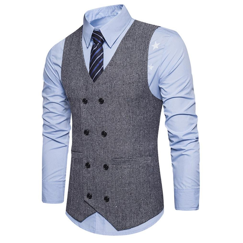 69eab01059ca Nevera Handsome Men Formal Jacket Tweed Check Double Breasted Waistcoat  Retro Slim Fit Suit at Amazon Men s Clothing store