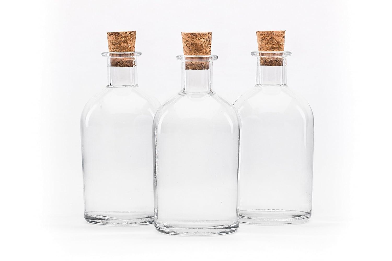12 piezas Botellas de 250 ml NEW-BOST vacías Botella de licor de farmacia con tapón de corcho Botella de licor de frasco de tiras de aceite de jugo para auto-llenado, N SLK GmbH