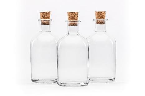 SLK - Juego de 24 botellas (cristal, 250 ml, con corchos naturales,