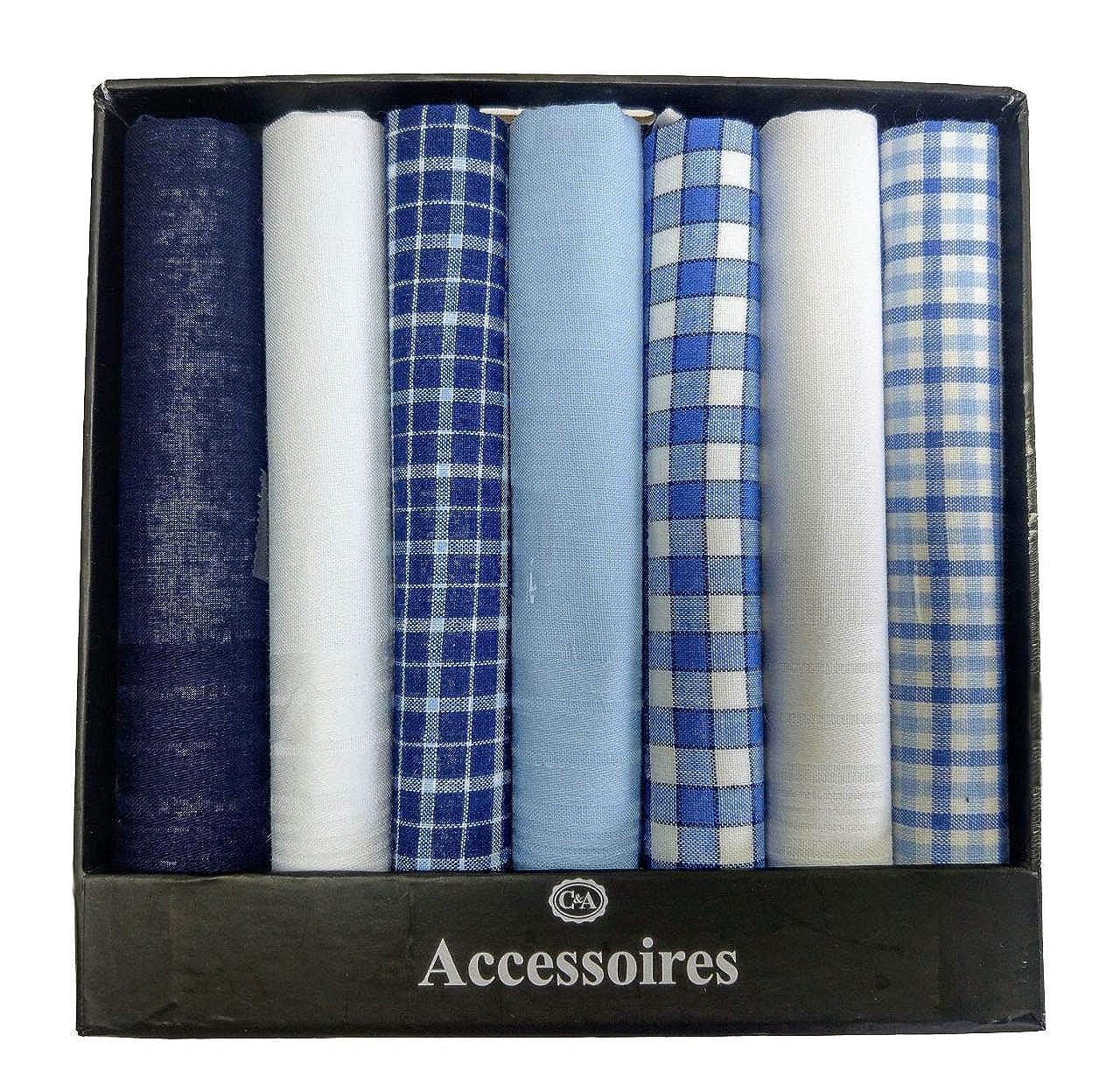 7 Pack Men's Gift 100% Cotton Assorted Blue White Handkerchief Multi pack 40cm x 40cm (~16