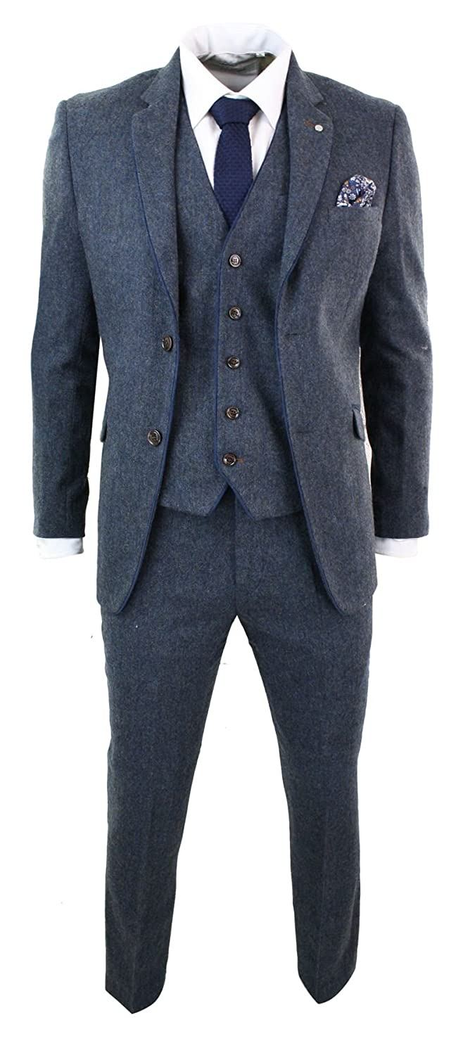 Cavani Mens Herringbone Tweed 3 Piece Suit Vintage Tailored Fit Brown Suede Patch Blue