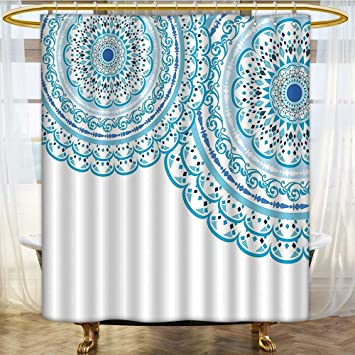 Mikihome Shower Curtain Customized Wedding Invitation Card Theme Lace And Place For Text Print Sky Blue