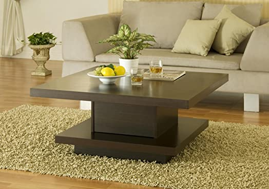 FurnitureMaxx Contemporary Espresso Living Room Accent Coffee Table
