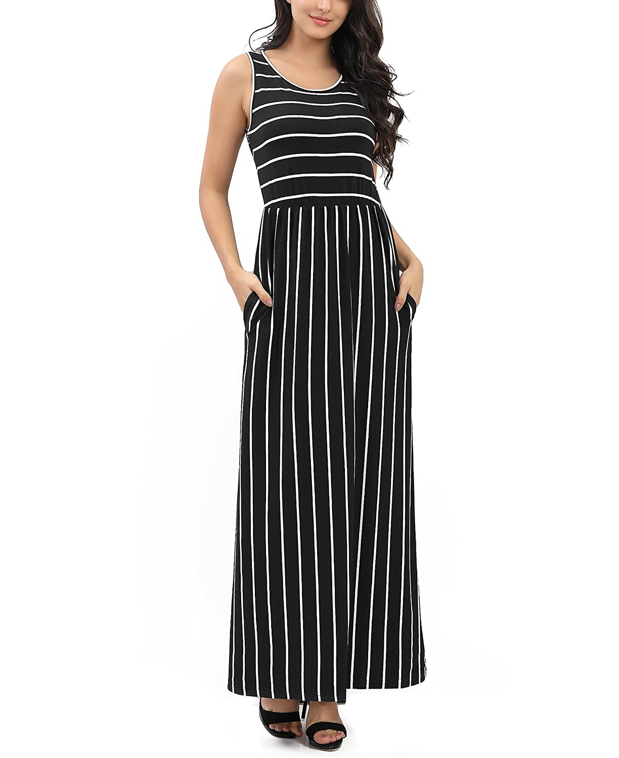 d4c556c635 ROOSEY Women's Summer Sleeveless Striped Round Neck Long Casual Maxi Dress  with Pockets at Amazon Women's Clothing store: