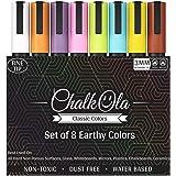 Marcadores de tiza de punta fina - Paquete de 8 colores clásicos de la tierra | Plumas de tinta de tiza líquida no tóxicas de borrado en húmedo | Bala reversible de 3 mm y punta de cincel