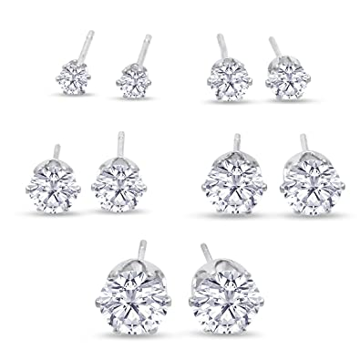 227e87662 Amazon.com: 316L Surgical Stainless Steel Round Clear Cubic Zirconia Stud  Earring set (5 Pairs): Jewelry