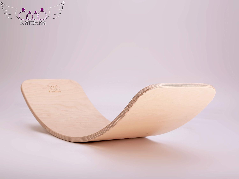 KateHaa Large Wooden Balance board, Tabla de equilibrio, tabla curva infantil, Juguetes Educativos, Laca ecológicaEco Lacquer, Waldorf Balance Board,