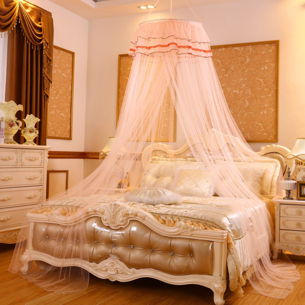 Lustar Princess Lace Mosquito Net Bed Canopy For Children Fly Insect Protection Indoor Decorative Height 2.8m Top Diameter 0.6-1m,Creamc