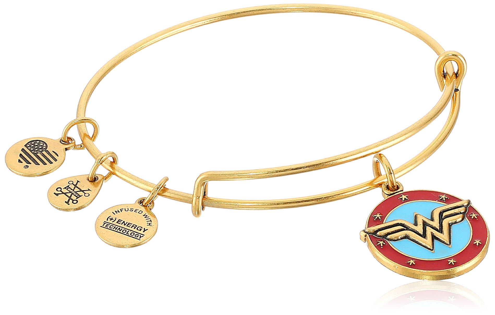 Alex and Ani Wonder Woman Logo Rafaelian Gold Bangle Bracelet