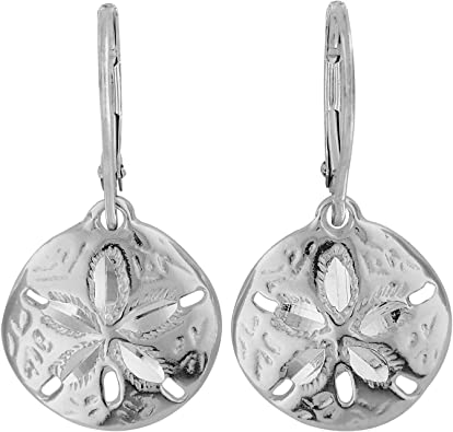 Unique Royal Jewelry 925 Solid Sterling Silver Sand Dollar French-Wire-Clip Drop Dangling Designer Earrings.