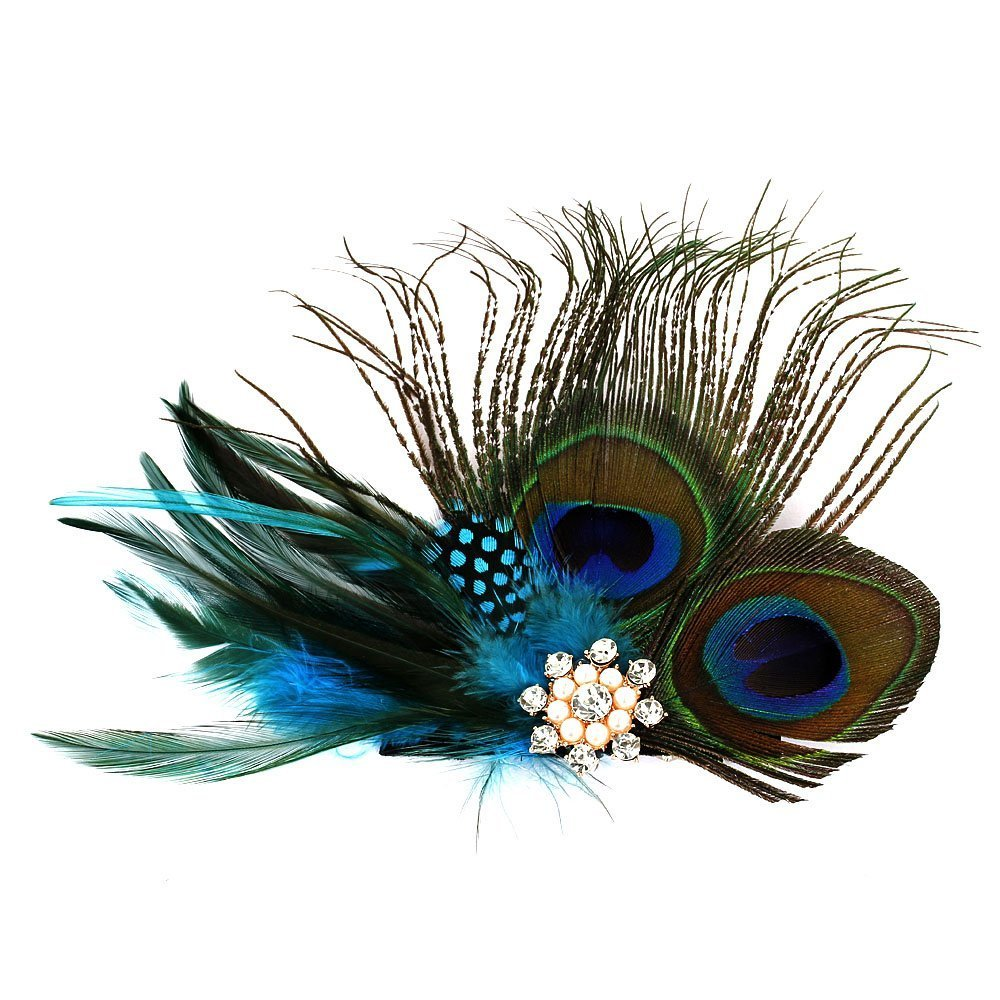 Handmade Feather Peacock Fascinator Hair Clip with Rhinestone and Faux Pearl Seven & Nine Service