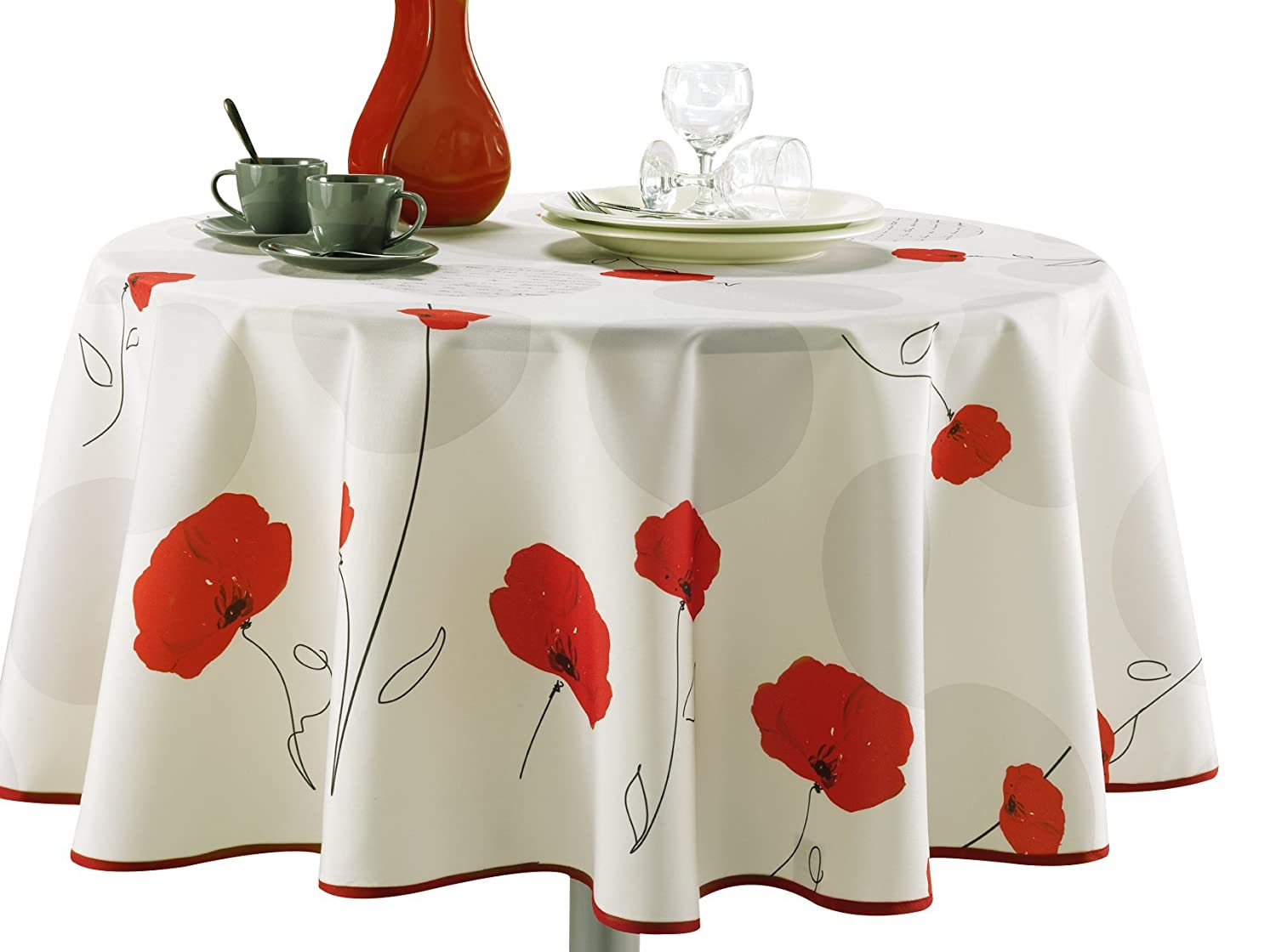 Amazon.com: 63 Inch Round Tablecloth Ivory White Red Poppy Flower, Stain  Resistant, Washable, Liquid Spills Bead Up, Seats 6 To 8 People (Other Size  ...