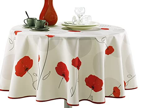 63 Inch Round Tablecloth Ivory White Red Poppy Flower, Stain Resistant,  Washable,