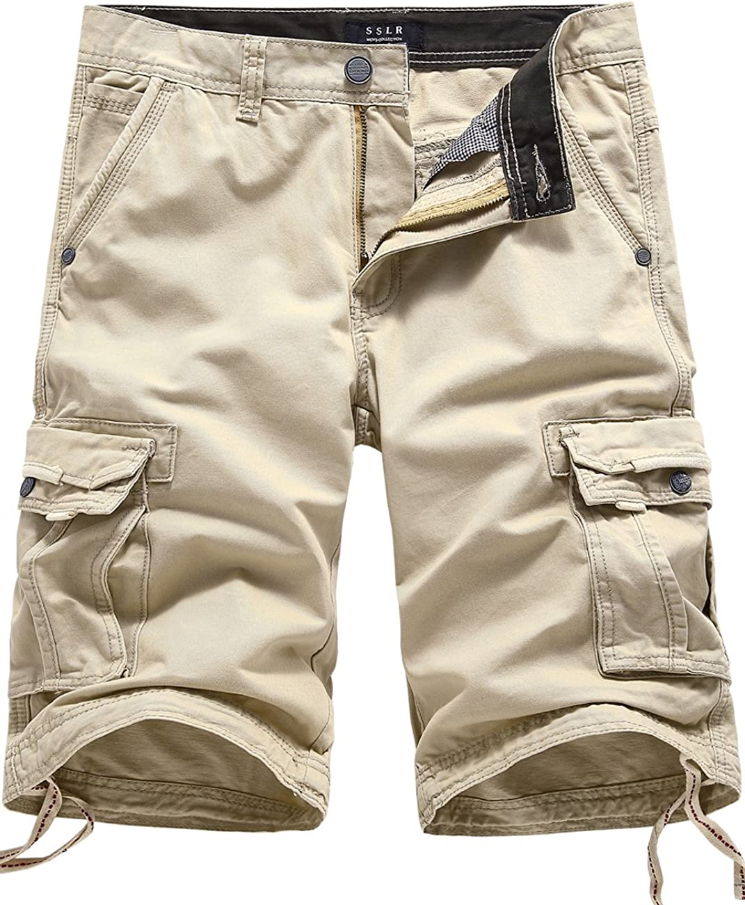 SSLR Mens Casual Cotton Multi-Pocket Cargo Shorts