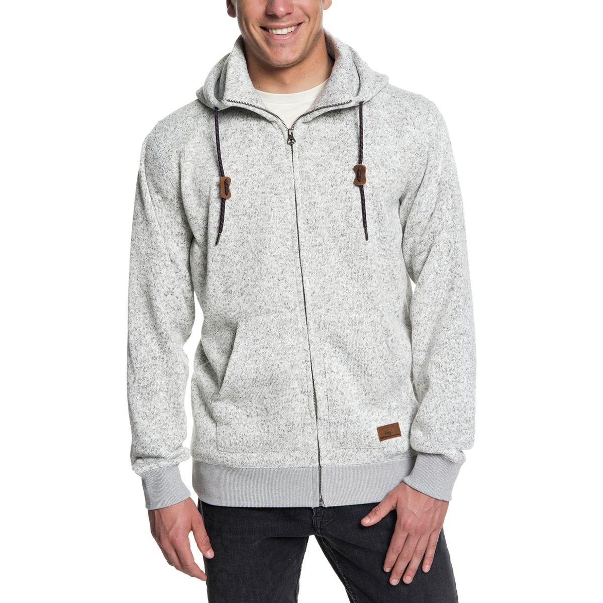 Quiksilver Men's Keller Zip UP Hoodie Jacket, Light Grey Heather, XXL