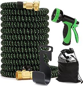 SJTKJ Green Heavy Duty Expandable Garden Hose 10 Function Alloy Sprayer Nozzle 3750D 3/4
