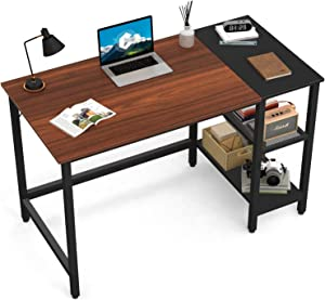 CubiCubi Computer Home Office Desk, 40 Inch Small Desk Study Writing Table with Storage Shelves, Modern Simple PC Desk with Splice Board, Espresso and Black