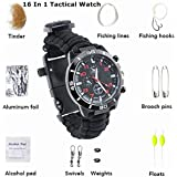 TECH-P 16-in-1 Water Resistant Survival Tactical Emergency Watch Bracelet Hiking Camping Kit-Black