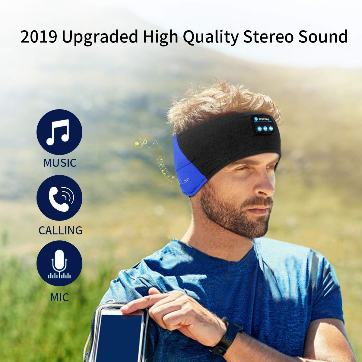 WU-MINGLU Bluetooth Headband Sleep Headphones, Wireless Music Sport Headbands Headsets Sleeping Headphone for Men,Women with Thin and Cool Fabric & Adjustable Earphones for Running, Yoga (BLUE)