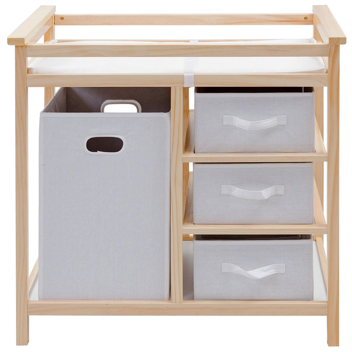 Natural Infant Baby Changing Table w/3 Basket Hamper Diaper Storage Nursery New