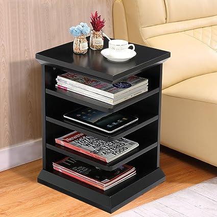Amazoncom Topeakmart Shelf Magazine Rack ChairSofa Side End - Coffee table with book storage
