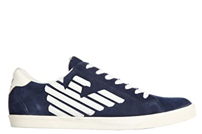Emporio Armani EA7 men's shoes suede trainers sneakers new pride training  blu UK size 10 278023