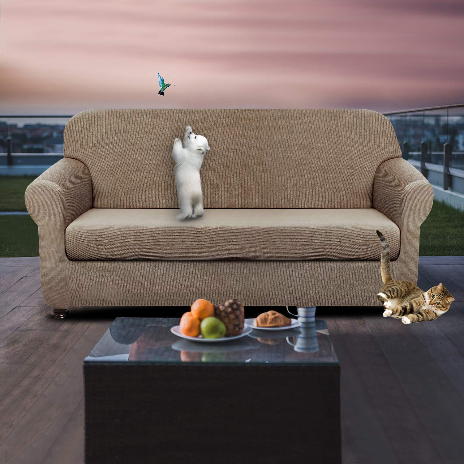 XL Sofa, Dark Coffee Chelzen Tech Chelzen Stretch Sofa Covers Living Room 2-Piece Extra Large Couch Covers Striped Furniture Protectors Spandex Fabric Dog Sofa Slipcovers