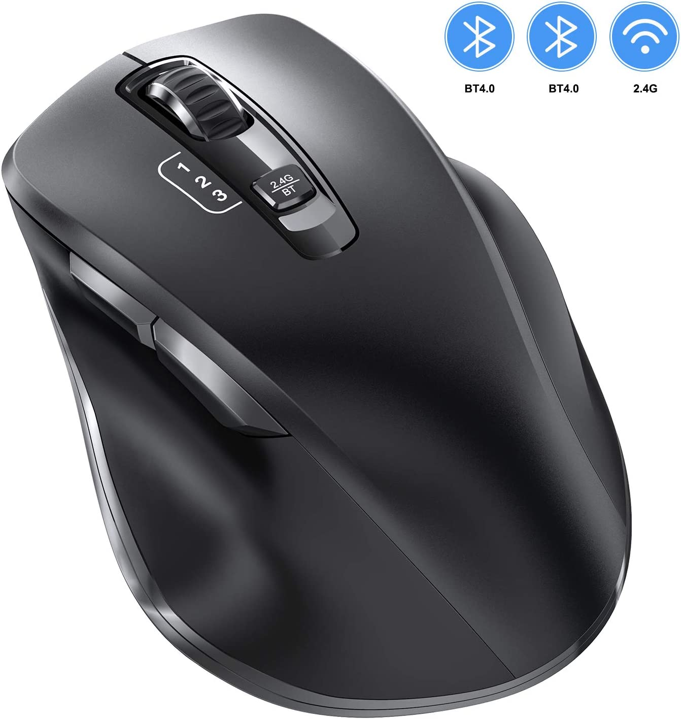 Bluetooth Mouse, Vogek Wireless Mouse Support 3 Devices (Dual Bluetooth & USB) with 3 Levels Adjustable DPI Ergonomic Design Optical Computer Mouse for Laptop iPad Computer Windows/Mac/Android Black