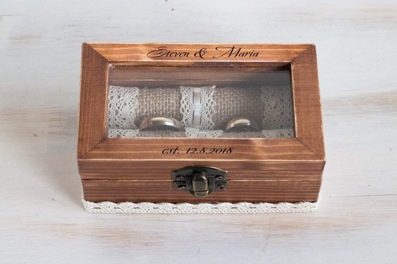 Engraved Ring Box Personalized Wedding Box Wedding Ring Box Glass Ring Bearer Box Proposal Box Wedding Holder Custom Ring Box \u0415ngagement Box