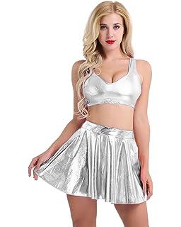 iiniim Femme 2PCS Robe de Danse Musique Fête Cuir Brillant Top Haut de  Danse Mini Jupe c614909c8f8