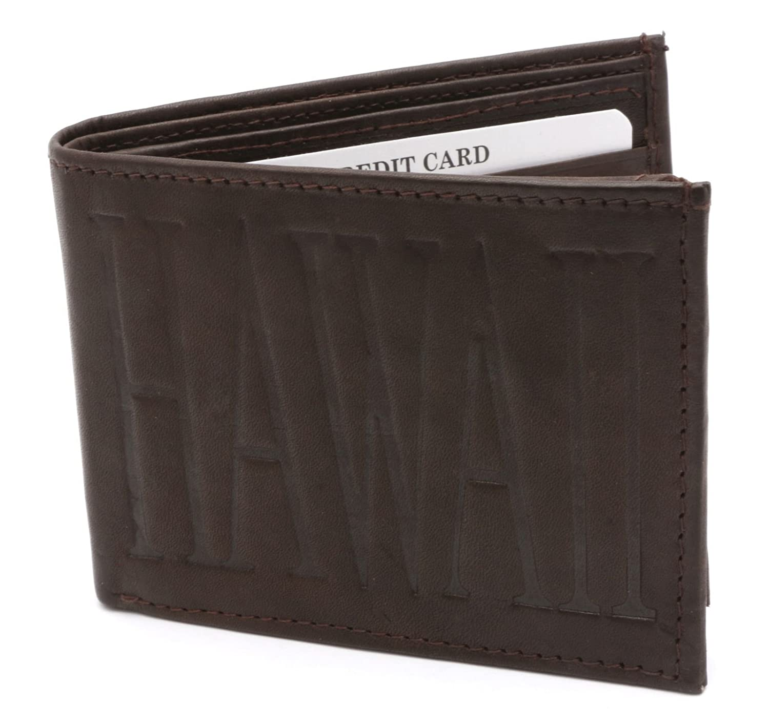 Bifold Genuine Leather Brown Compact Wallet with HAWAII Embossed Design