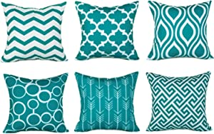 Top Finel 100% Durable Canvas Square Decorative Throw Pillows Cushion Covers Pillowcases for Sofa,Set of 6,18×18 Inch-Turquoise