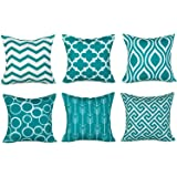 Top Finel 100% Durable Canvas Square Decorative Throw Pillows Cushion Covers Pillowcases for Sofa,Set of 6,18×18 Inch…