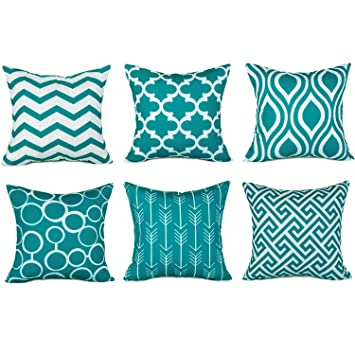 Top Finel Accent Decorative Throw Pillows Durable Canvas Outdoor Cushion Covers 16 X 16 For Couch Bedroom Set Of 6 Teal