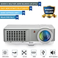 Digital HD Home Cinema Projector LED LCD Portable HDMI USB 1080P Indoor Outdoor Video Game Movie Projector with Built-in Speakers Keystone Correction Zoom Flip Remote for Android iPhone Tablet Laptop